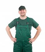 pic of overalls  - Worker in green overalls - JPG
