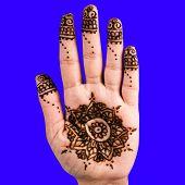 stock photo of henna tattoo  - Henna hand tattoo decoration art clipping path square blue - JPG