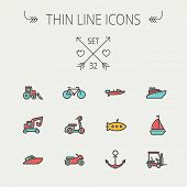 pic of transportation icons  - Transportation thin line icon set for web and mobile - JPG