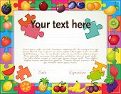 foto of certificate  - Certificate with fruit jigsaw puzzle frame - JPG