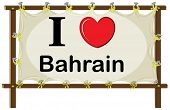 stock photo of bahrain  - I love Bahrain sign in wooden frame - JPG