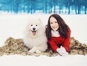 foto of christmas dog  - Winter christmas and people concept  - JPG