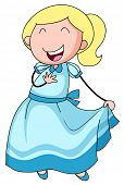 stock photo of up-skirt  - Close up happy girl in blue dress - JPG