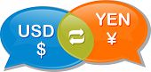 picture of yen  - Illustration concept clipart speech bubble dialog conversation negotiation of currency exchange rate USD Yen Dollar Yen vector - JPG
