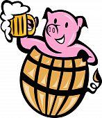 foto of beer mug  - illustration of a pig pork in barrel with beer mug isolated on white - JPG