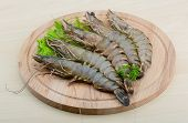 picture of tiger prawn  - Raw tiger shrimps on the wood board - JPG