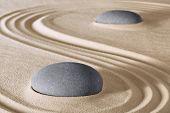 picture of zen  - zen stones meditation and relaxation in Japanese zen garden - JPG