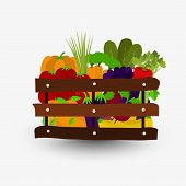foto of wooden crate  - Fruits and vegetables in a wooden crate - JPG