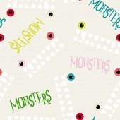 stock photo of monsters  - Decorative pattern monsters - JPG