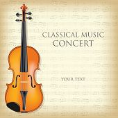 stock photo of violin  - Poster for a concert of classical music with violin - JPG