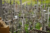 stock photo of cross hill  - The hill of the Crosses in Lithuania one of the most important pilgrimage sights of the region and a national monument comemmorating Soviet oppression - JPG