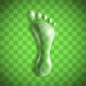 pic of carbon-footprint  - Footprint as a transparent drop - JPG