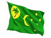stock photo of coco  - Waving flag of cocos islands isolated on white - JPG