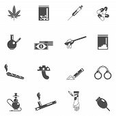 foto of crack addiction  - Drugs black icons set with magic mushrooms weed leaf crack smoke isolated vector illustration - JPG