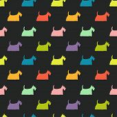 foto of scottish terrier  - Seamless pattern with colorful dog silhouettes on black background - JPG