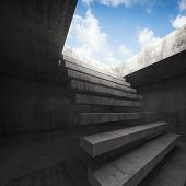 stock photo of stairway  - Flying stairway to heaven abstract empty dark concrete 3d illustration interior background - JPG