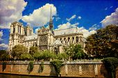 pic of notre dame  - The Cathedral of Notre Dame de Paris in vintage style France - JPG
