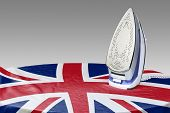 foto of iron star  - Preparing for Steam iron for smooth out the wrinkles of Flag from Great Britain - JPG