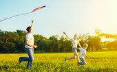 stock photo of happy day  - happy family in summer nature - JPG