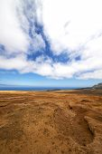 picture of volcanic  - bush timanfaya in los volcanes volcanic rock stone sky hill and summer lanzarote spain lagoon - JPG
