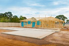 image of foundation  - view of construction site and house foundation in preparation process - JPG
