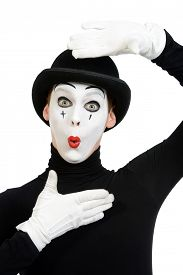 picture of pantomime  - Portrait of a male mime artist - JPG