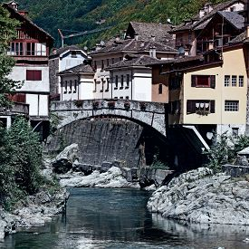 pic of italian alps  - View of the Medieval City of Rassa in Italian Alps Vintage Style Toned Picture - JPG
