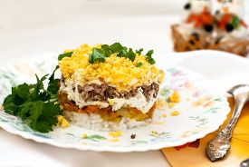 picture of mimosa  - Traditional Russian salad mimosa of canned fish eggs cheese carrots and mayonnaise - JPG