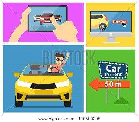 poster of Rent a car banner. Car for rent banner. Business growth. Car loan banner. Rent a car concept. Car hire banner. Rental car. Car leasing. Rent a car infographics. Cars sale. Key car. Car business concept. Rental service.