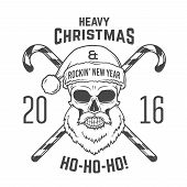 Постер, плакат: Bad Santa Claus biker with candy cones print design Vintage Heavy metal Christmas portrait Rock an