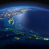 Постер, плакат: Detailed Earth Caribbean Islands Cuba Haiti Jamaical On A Moonlit Night
