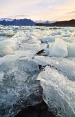 Постер, плакат: Broken melting pieces of ice at Jokulsarlon glacier Lagoon climate change melting the polar ice cap