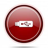 Usb red glossy round web icon. Circle isolated internet button for webdesign and smartphone applicat poster