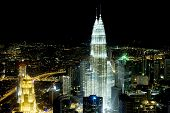 image of petronas twin towers  - Panorama of Kuala Lumpur from KL Tower in the night - JPG