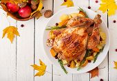 Roasted Turkey Garnished With Cranberries On A Rustic Style Table Decorated With Pumpkins, Orange, A poster