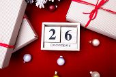 Boxing Day Sale. Calendar With Date On Red Background. Christmas Concept. December 26. Christmas Bal poster