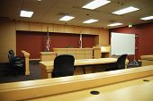 picture of court room  - Empty California courtroom with modern sparse furnishings - JPG