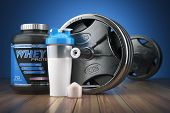 Barbell and whey protein shaker. Sports bodybuilding supplements or nutrition. Fitness or healthy li poster