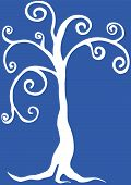 picture of hand drawn  - Tree on the blue background  - JPG