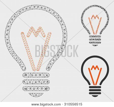 poster of Mesh Lamp Bulb Model With Triangle Mosaic Icon. Wire Frame Polygonal Mesh Of Lamp Bulb. Vector Mosai