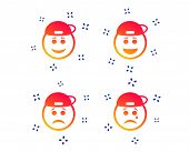 Rapper Smile Face Icons. Happy, Sad, Cry Signs. Happy Smiley Chat Symbol. Sadness Depression And Cry poster