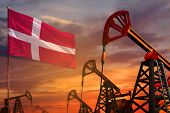 Denmark Oil Industry Concept, Industrial Illustration. Denmark Flag And Oil Wells And The Red And Bl poster