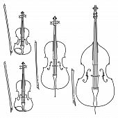 Set Of Simple Bowed Stringed Musical Instruments Violin, Viola (alto); Cello, Double Bass Drawn By L poster