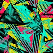 Abstract Neon Seamless Geometric Pattern. Colorful Sport Style Vector Illustration. Grunge Urban Art poster