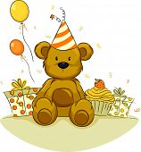 stock photo of teddy-bear  - Illustration of a Toy Bear Celebrating its Birthday - JPG