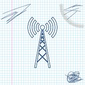 Antenna Line Sketch Icon Isolated On White Background. Radio Antenna Wireless. Technology And Networ poster