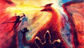 Painting Fantasy Watercolor Landscape With Dragon And Japanese Samurai Bsttle, Hand Drawn Fantasy Ar poster