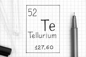 The Periodic Table Of Elements. Handwriting Chemical Element Tellurium Te With Black Pen, Test Tube  poster