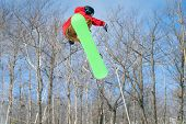 A Snowboarder Performs A Mid-air Trick In A Terrain Park poster