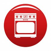 Domestic Gas Oven Icon. Simple Illustration Of Domestic Gas Oven Vector Icon For Any Design Red poster
